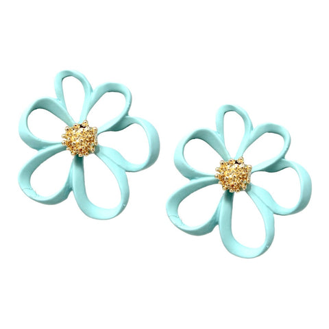 BITZ  Color Flower Stud Earrings - MINT