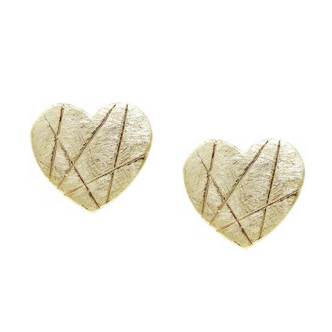 BITZ BRUSHED MATTE HEART STUD METAL EARRING