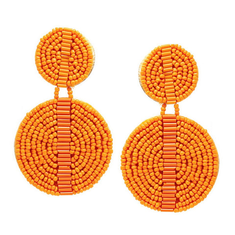 BITZ Seed Beaded Double Disc Drop Earrings