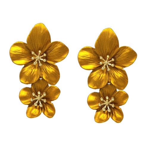 BITZ Flower Double Drop Earrings