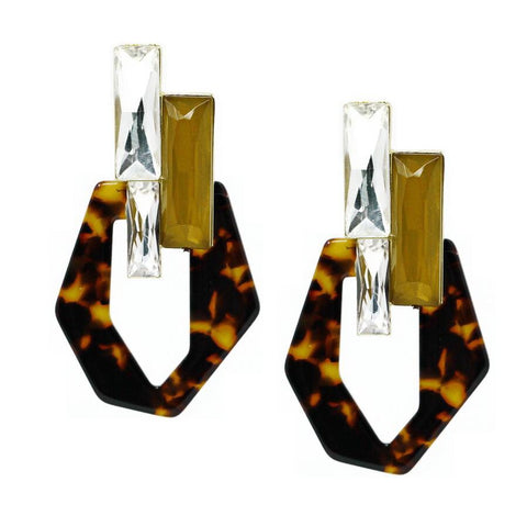 BITZ GLASS TILE HOOP STATEMENT EARRING