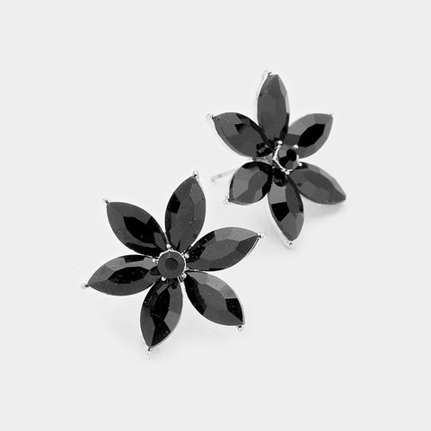 BITZ CRYSTAL  FLOWER OVERSIZED STUD EARRING