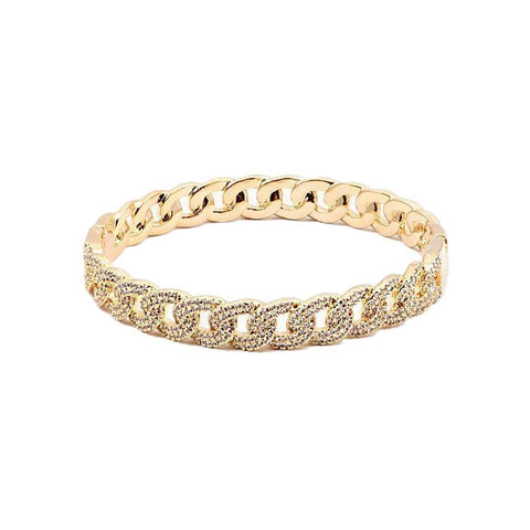 BITZ FINE CUBAN LINK CHAIN CUFF BRACELET- CZ - REVERSIBLE TWO COLOR OPTIONS - GOLD OR SILVER