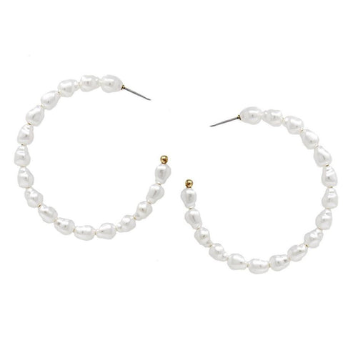 BITZ PEARL BEADED HOOP EARRINGS