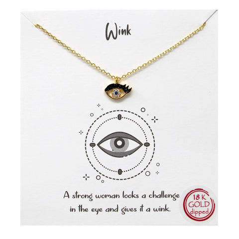 BITZ WINK NECKLACE - Tell Your Story: CZ Pave Eye Pendant Simple Chain Short Necklace