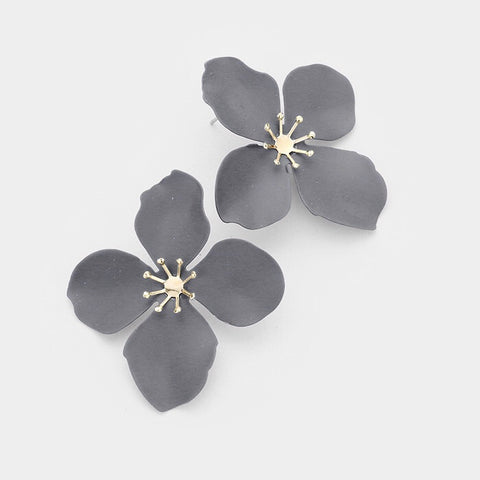 BITZ FLOWER STUD EARRING - GREY
