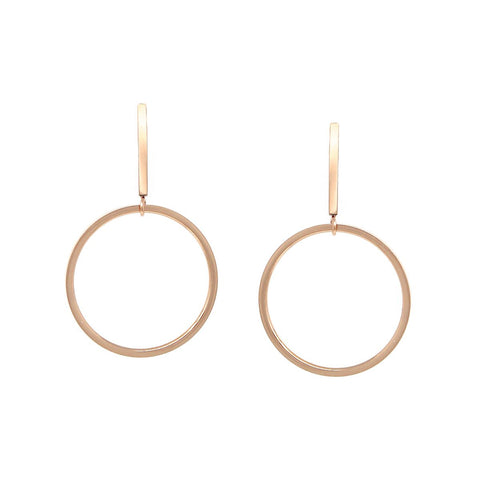 BITZ SKINNY BAR HOOP DROP EARRINGS - ROSE GOLD
