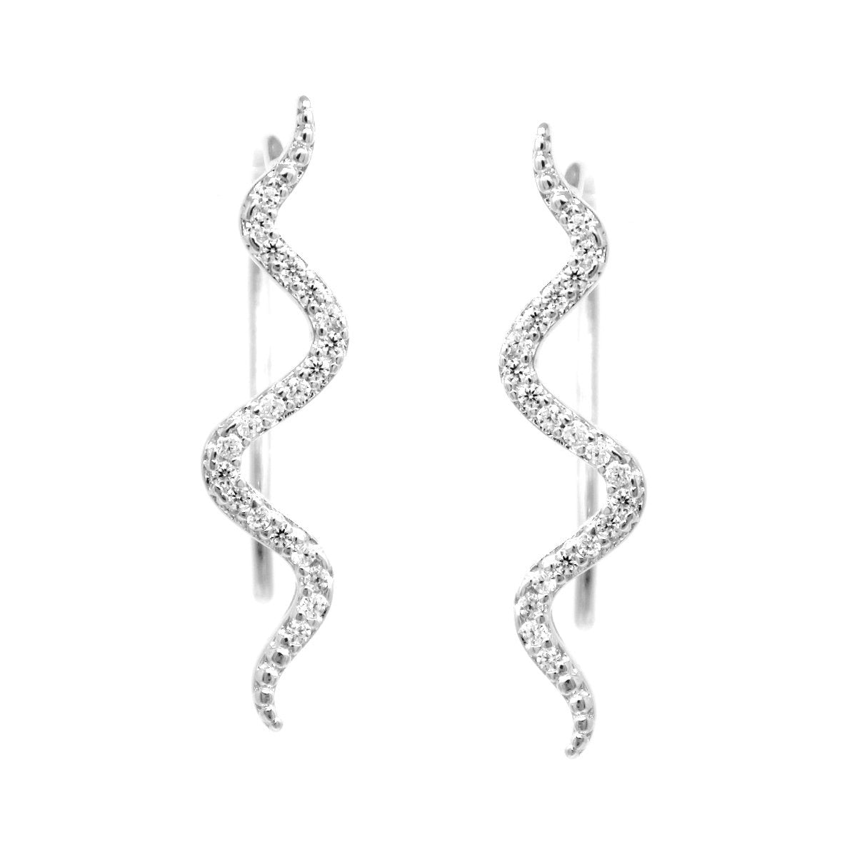 BITZ CZ Pave Snake Ear Crawlers Earrings