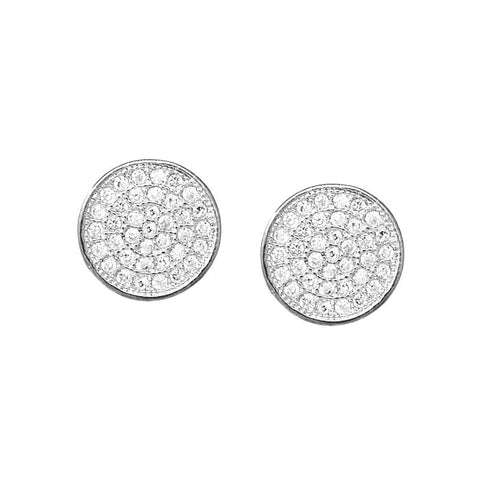 BITZ CZ  Pave Disc Stud Earrings