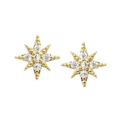 BITZ CZ Pave Starburst Stud Earrings - GOLD