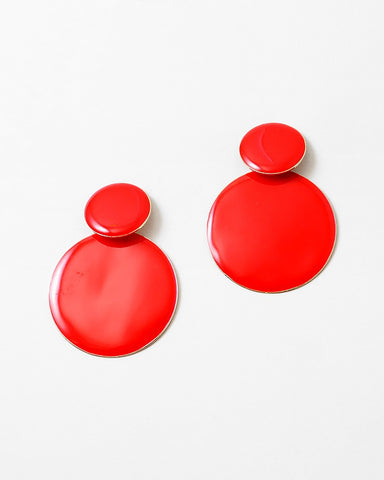 BITZ GEOMETRIC EPOXY STATEMENT EARRING - RED