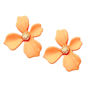 BITZ Matte Finished Flower Stud Earrings - ORANGE