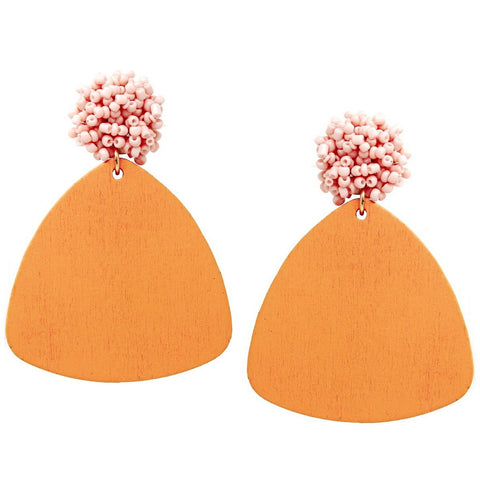 BITZ BEAD N WOOD TRIANGLE DROP EARRING