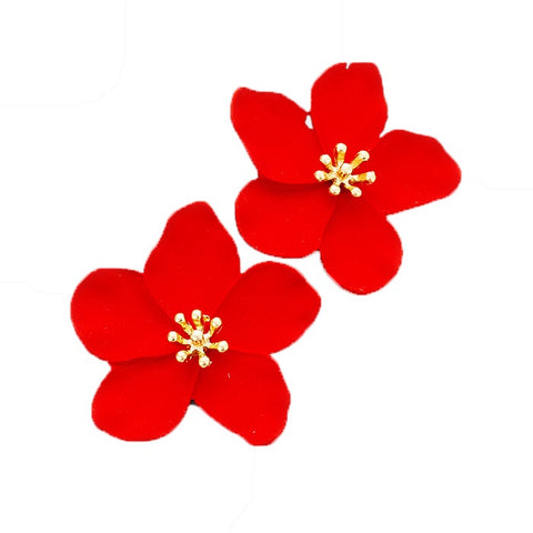 BITZ BLOOM FLOWER STUD EARRING - RED