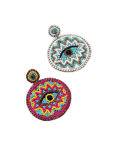 BITZ BEADED ROUND EVIL EYE EARRING - PINK