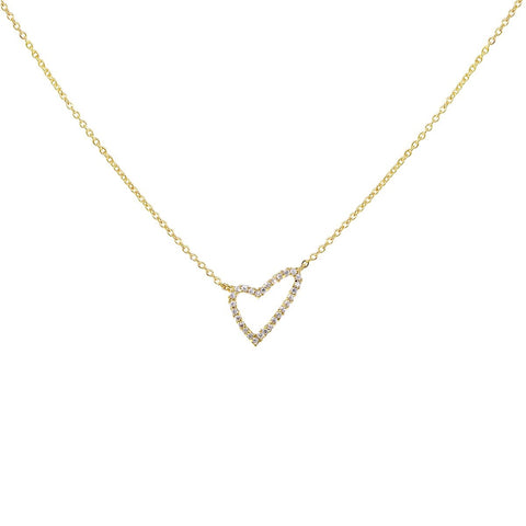 BITZ GOLD CZ Pave Heart Pendant Short Necklace