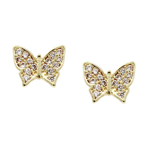 BITZ Cubic Zirconia Pave Butterfly Stud Earrings