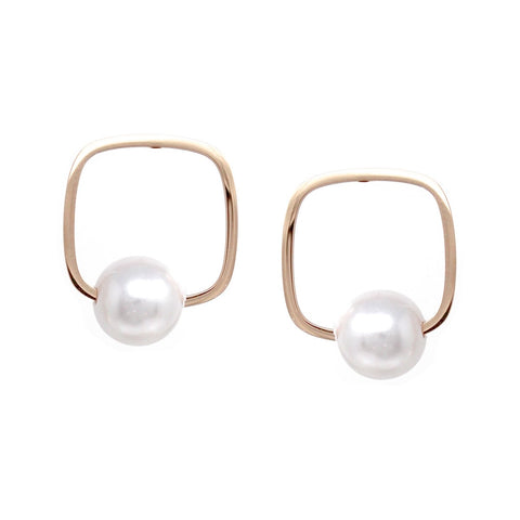 BITZ Pearl Bead With Square Hoop Stud Earrings - ROSE