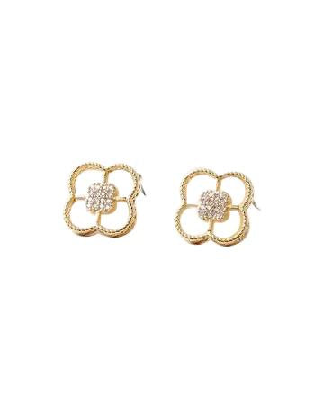 BITZ MOTHER OF PEARL N CZ CLOVER STUD EARRING - GOLD/SILVER