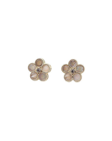 BITZ MOTHER OF PEARL FLOWER STUD EARRING