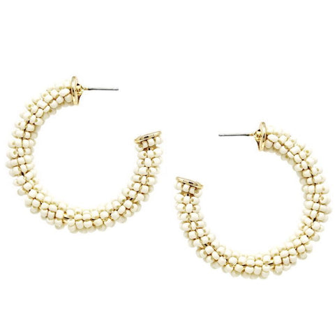 BITZ BEADED STATEMENT HOOP EARRINGS