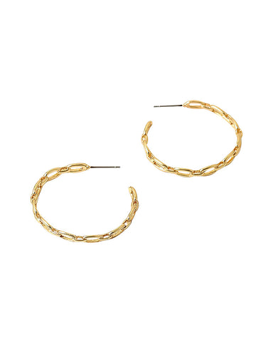 BITZ NEW GOLD CHAIN LINK HOOP EARRINGS- medium size