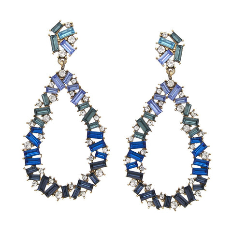 BITZ BLUE STONE TEARDROP EARRING