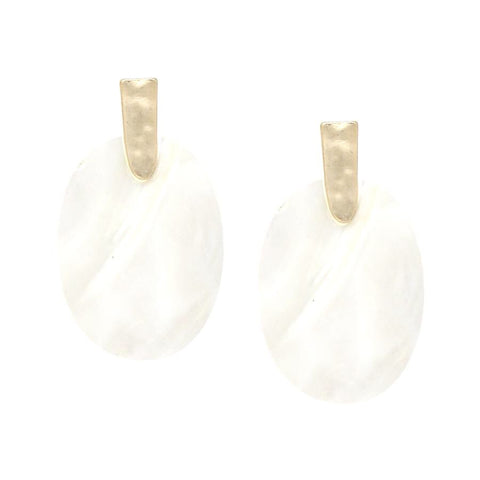BITZ OVAL MOTHER OF PEARL SHELL EARRING
