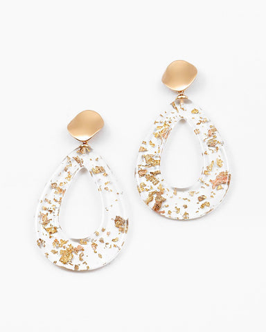 BITZ LUCITE GOLD TEARDROP EARRING