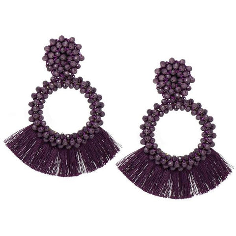 BITZ BEADED GLASS STONE TASSEL EARRING - EGGPLANT