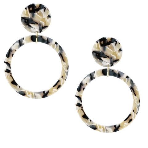 BITZ MARBLE ROUND HOOP EARRING - IVORY MIX