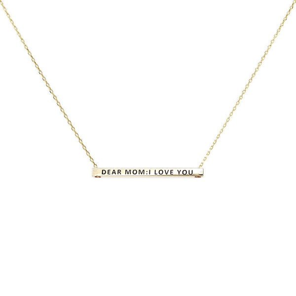 DEAR MOM: I LOVE YOU MESSAGE NECKLACE TWO COLOR OPTIONS - GOLD OR SILVER