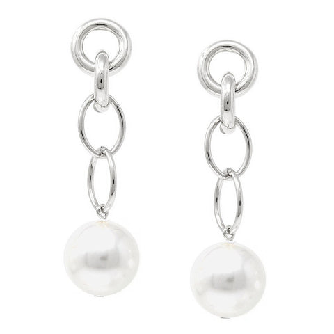 BITZ LINKED CHAIN PEARL DROP EARRINGS
