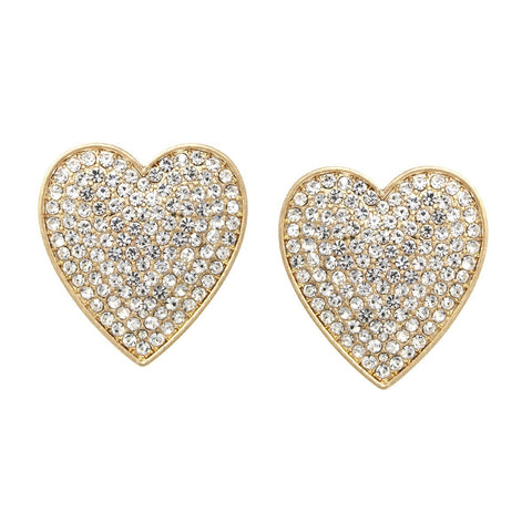 BITZ OVERSIZED Rhinestone Pave Heart Stud Earrings - IN STOCK!!