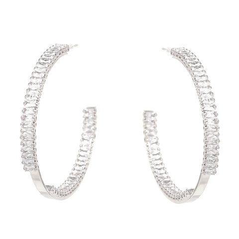 BITZ Emerald Cut CZ Pave Inside-Out Hoop Earrings (50 mm)
