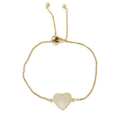 BITZ CZ PAVE HEART BRACELET - IN STOCK!