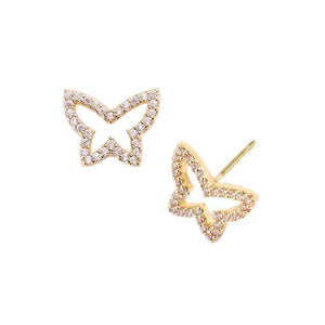 BITZ CUTOUT CZ BUTTERFLY EARRING TWO COLOR OPTIONS - GOLD OR SILVER