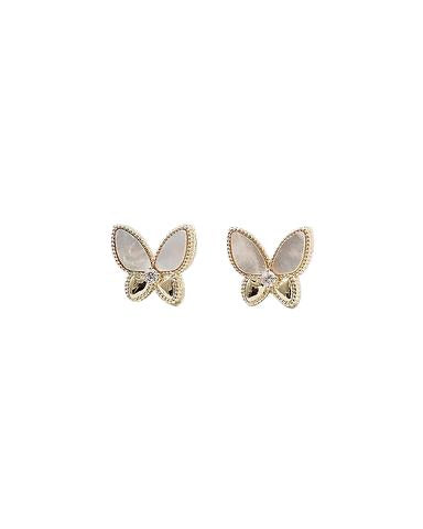 BITZ MOTHER OF PEARL BUTTERFLY STUD EARRINGS