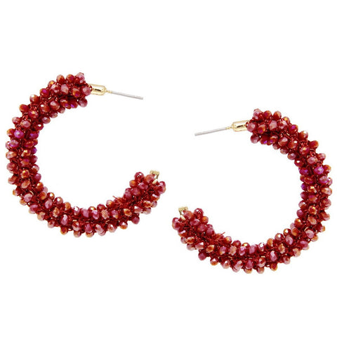 BITZ GLASS BEAD WRAPPED HOOP EARRINGS - RED