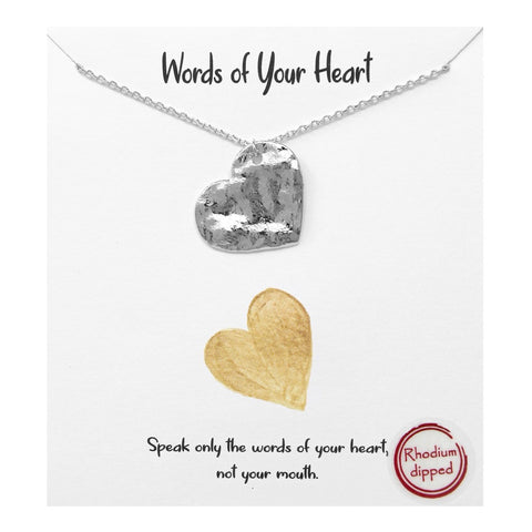 BITZ MESSAGE: Words Of Your Heart Hammered Metal Pendant Simple Chain Necklace