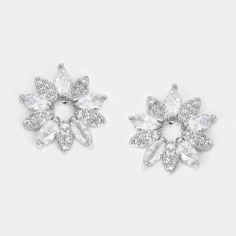 BITZ CRYSTAL N CZ FLOWER STUD EARRINGS