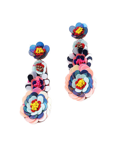 BITZ HANDMADE BEADED FLOWER DANGLE EARRING