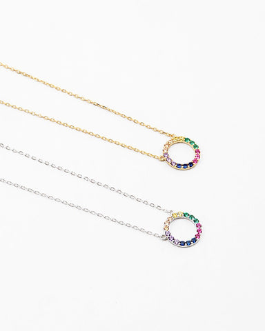 BITZ DELICATES STERLING  RAINBOW OPEN CIRCLE NECKLACE