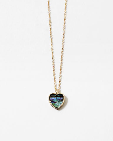 BITZ MOTHER OF PEARL HEART NECKLACE AVALONY