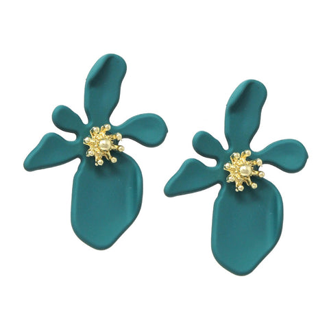 BITZ Matte Color Finished Flower Stud Earring-  TEAL