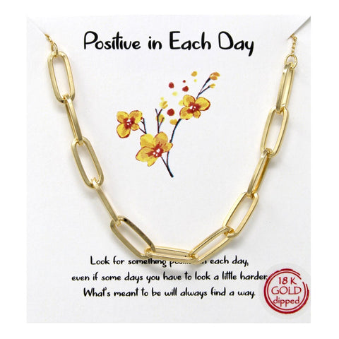 BITZ STORY POSITIVITY LINK CHAIN NECKLACE - PAPER CLIP