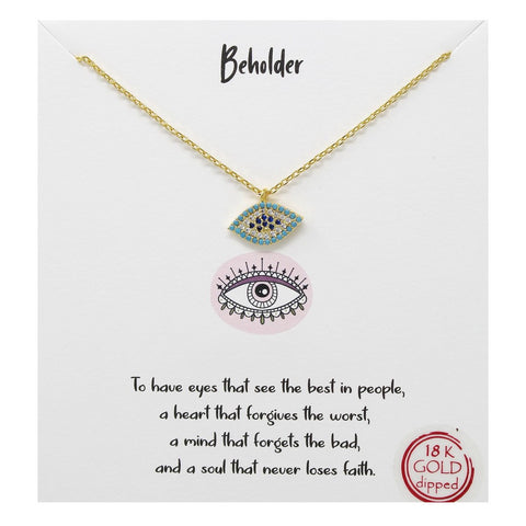 Tell Your Story: EVIL EYE - Beholder CZ Pave Pendant Short Necklace
