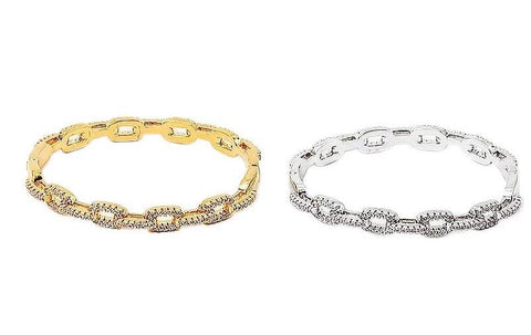 BITZ CZ CUBAN LINK CHAIN BRACELET- GOLD, ROSE OR SILVER