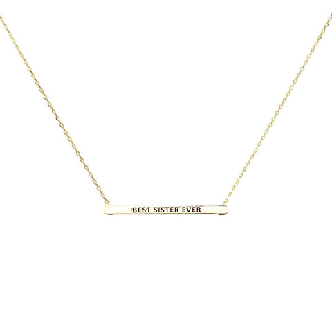 BEST SISTER EVER  Inspirational Message Pendant Short Necklace - GOLD DIPPED