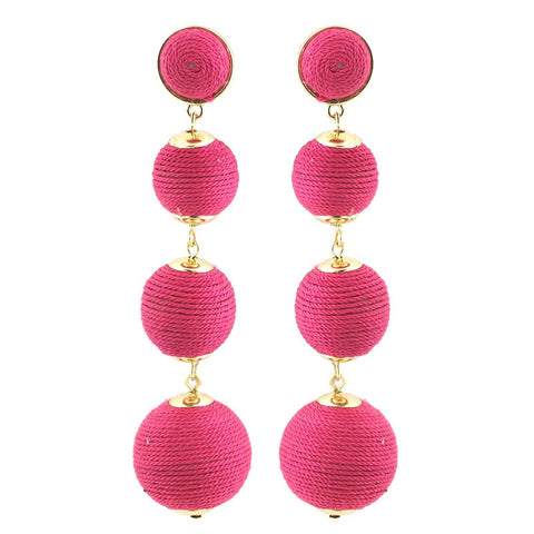 BON DROP EARRING - 4 DROP - HOT PINK